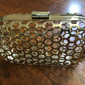 BCBGeneration Gold Cage Clutch
